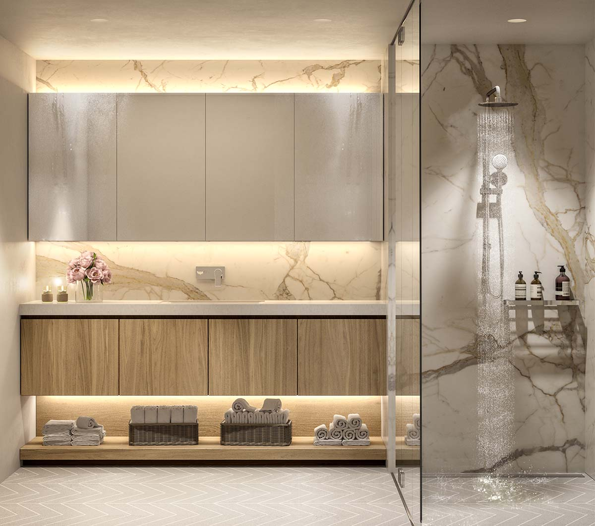 Bathroom design with shower and marble wall