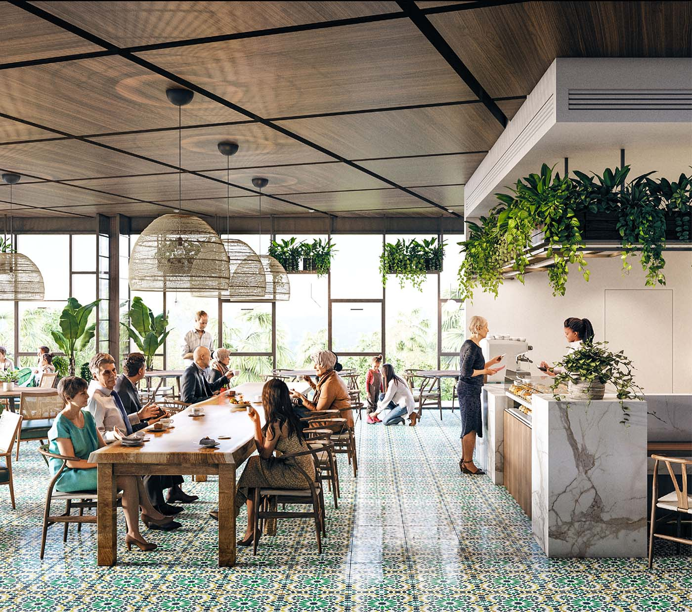 Biophilic green restaurant design with people ordering food and eating.