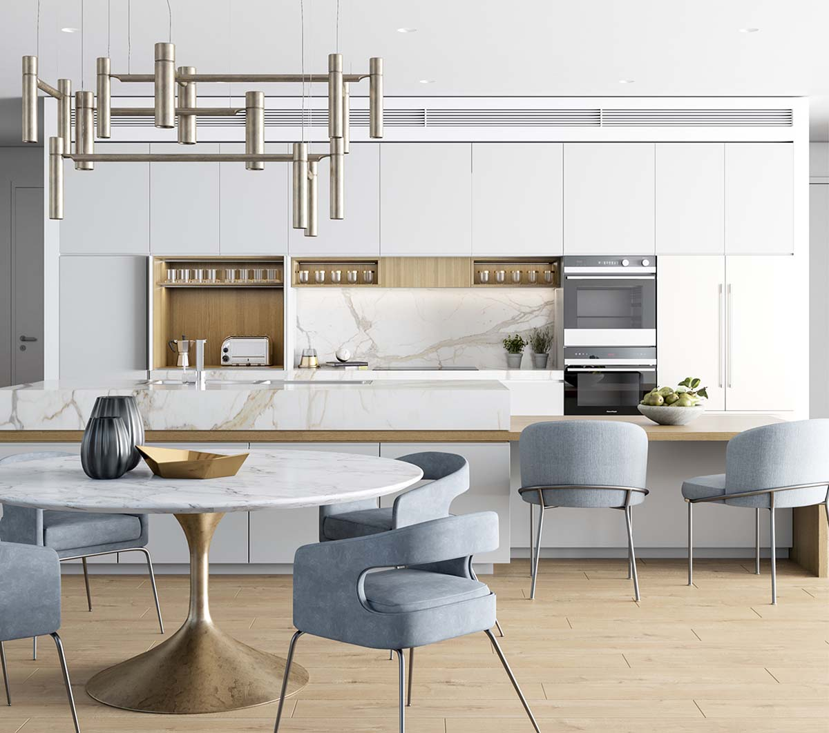 Kitchen view and dining area with white and grey palette