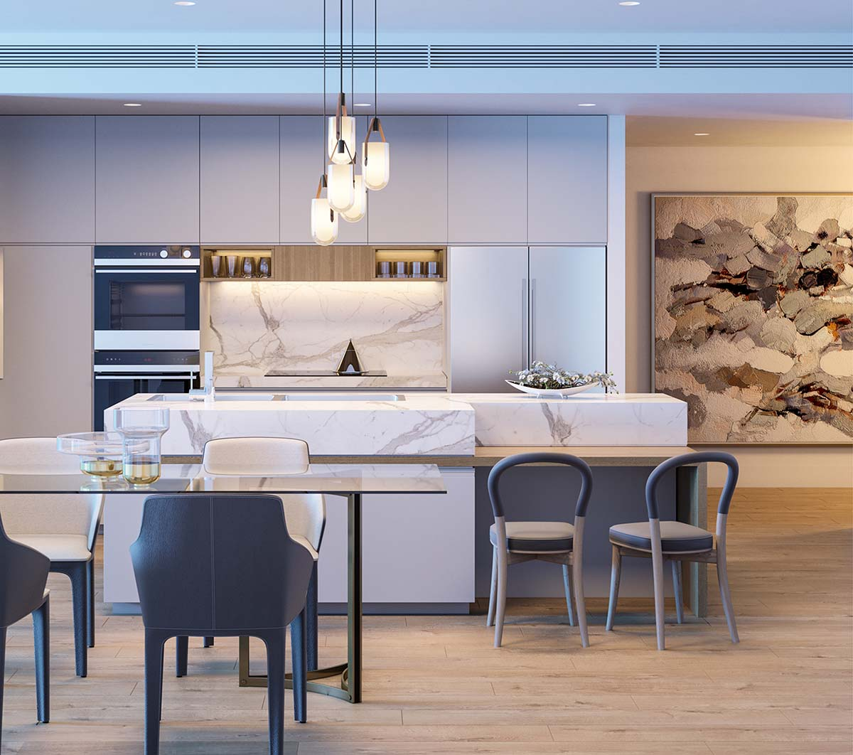 Kitchen and dining area for seniors using a white and blue palette