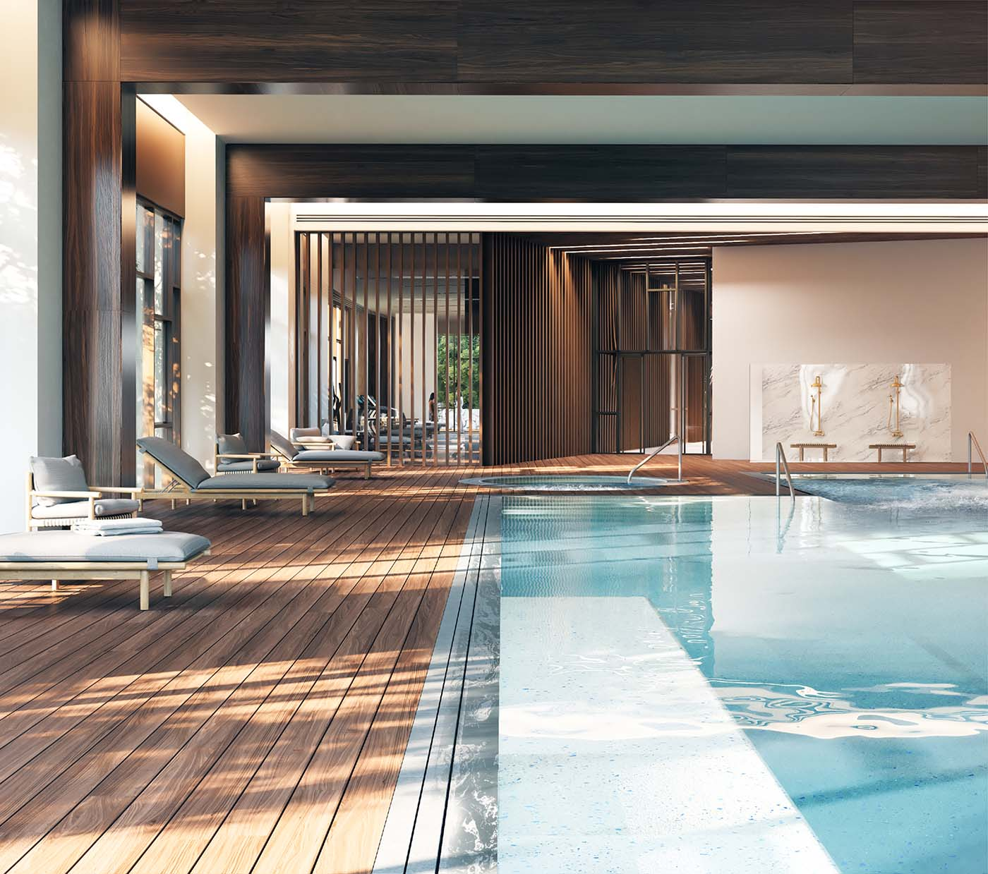 Swimming pool of a retirement village with timber floor.