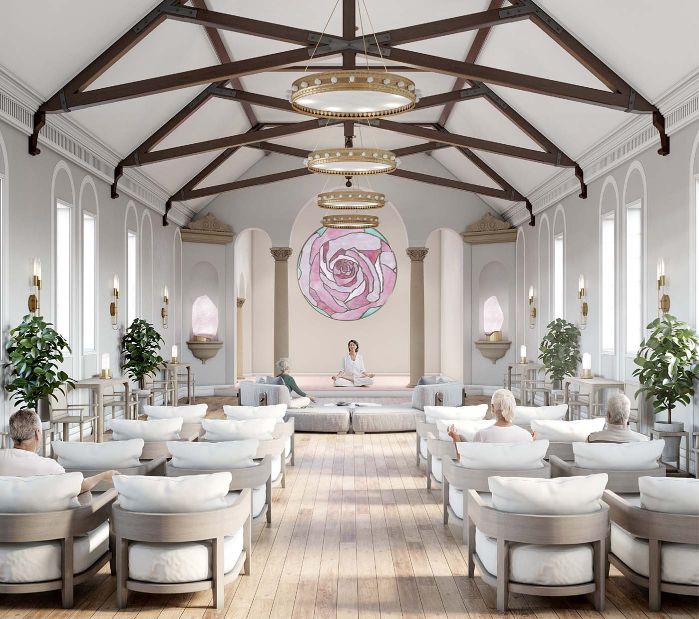 Relaxing area of a retirement village in Bowral, Sydney with people praying and relaxing in white interiors.