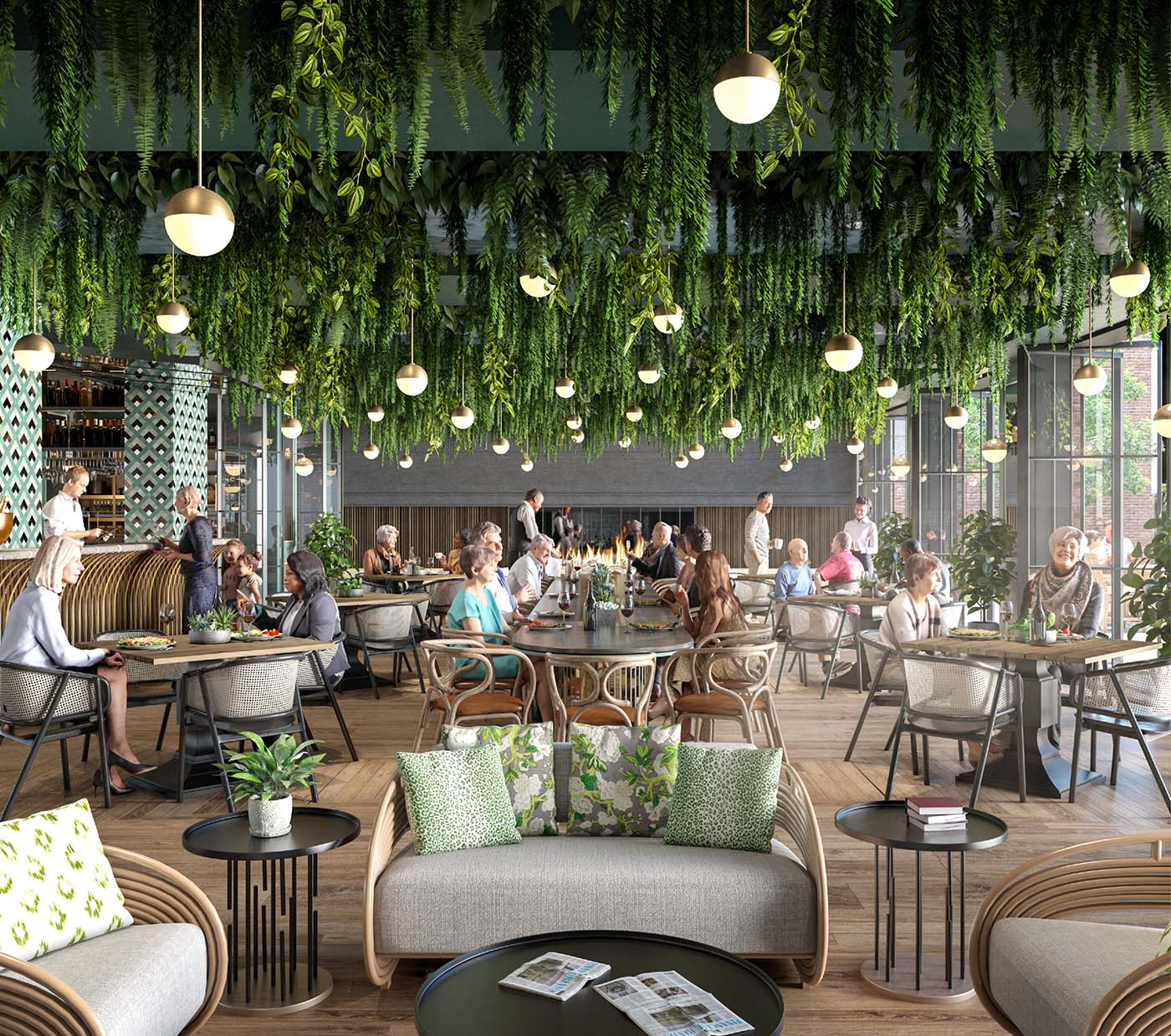 Conservatory area of a retirement village with biophilic interiors and people eating.