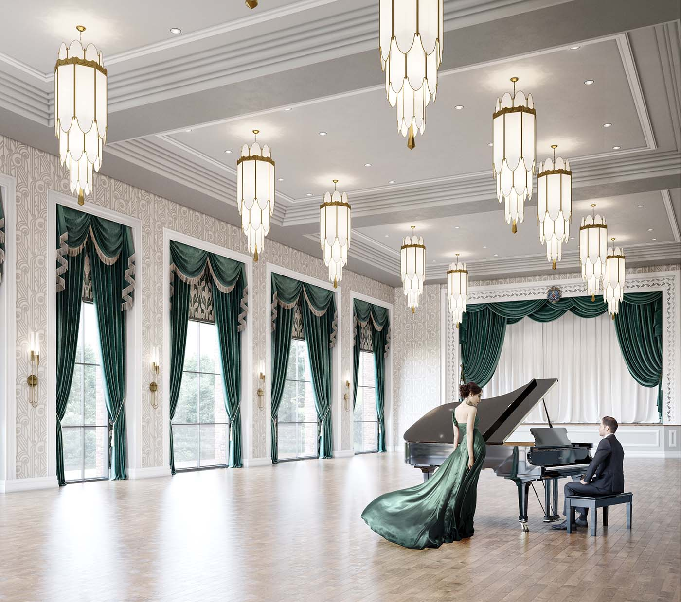 Green and white function and ballroom of a retirement village in Bowral with a lady wearing a green dress who performs next to a pianist.
