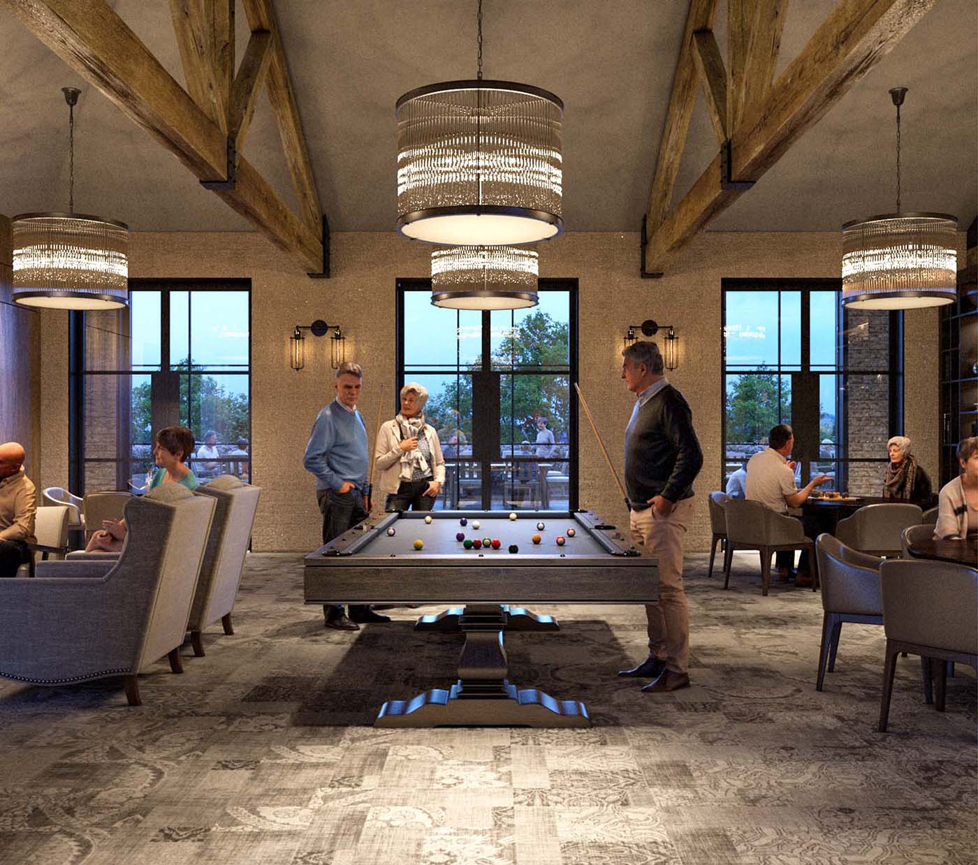 Games room in a retirement village in Bowral, Sydney with people playing billiards.