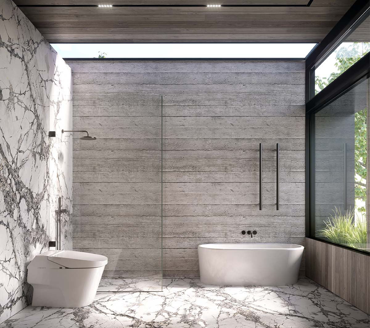 Bathroom with brutalist style blending stone and marble
