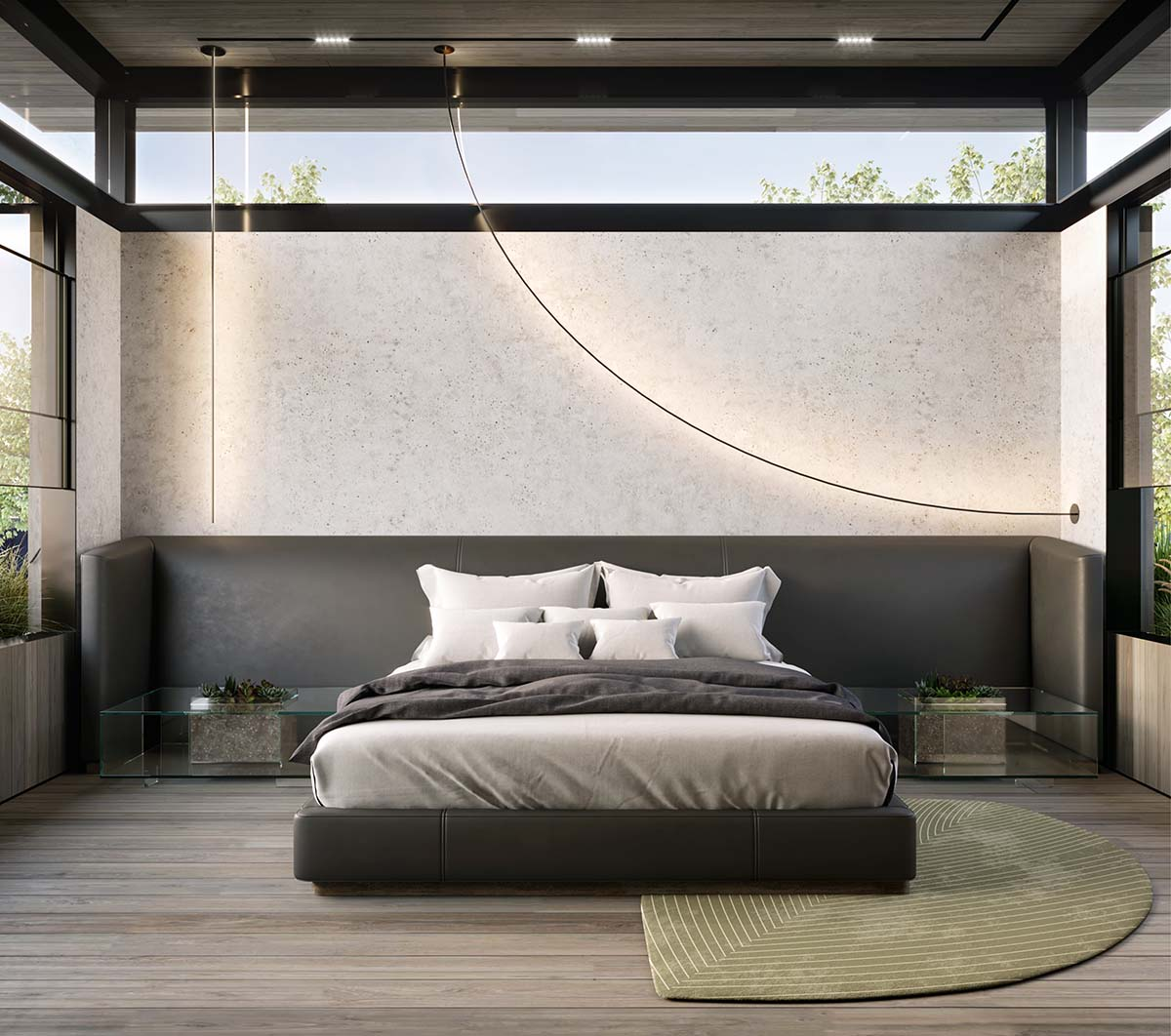 Brutalist bedroom with Roll & Hill light