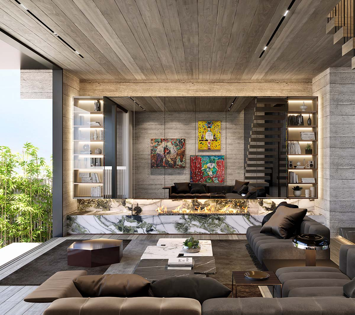 Brutalist living room with firepite and artwork reflecting on the mirror