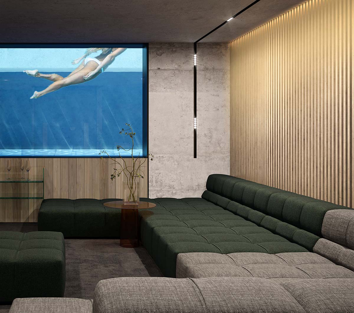 Brutalist living room with swimmin pool and girl swimming there