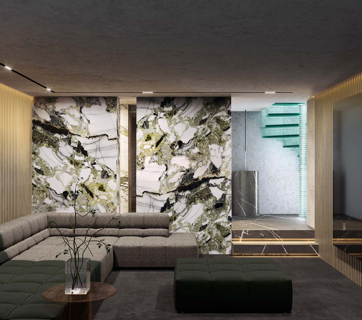 Brutalist living room with wall made of calacatta jade marble