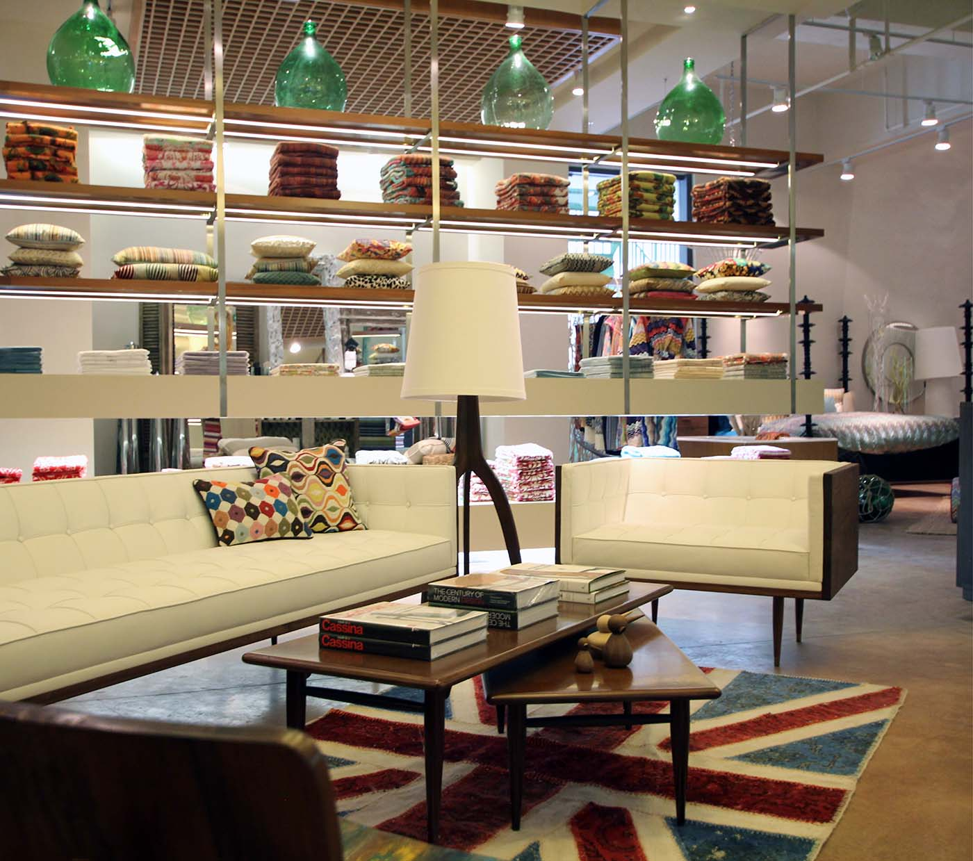 Chinese retail shop showing sofas and pillows.