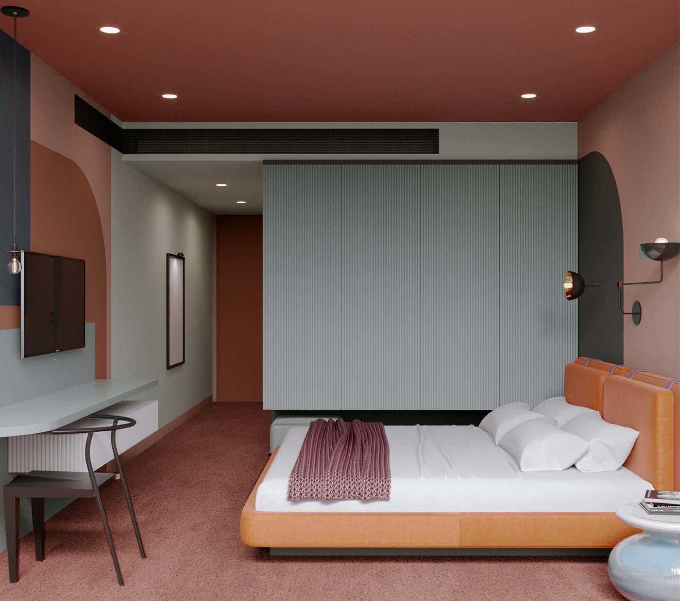 Hotel bedroom with wireless technology and funky colours such as orange, pink and acquamarine.