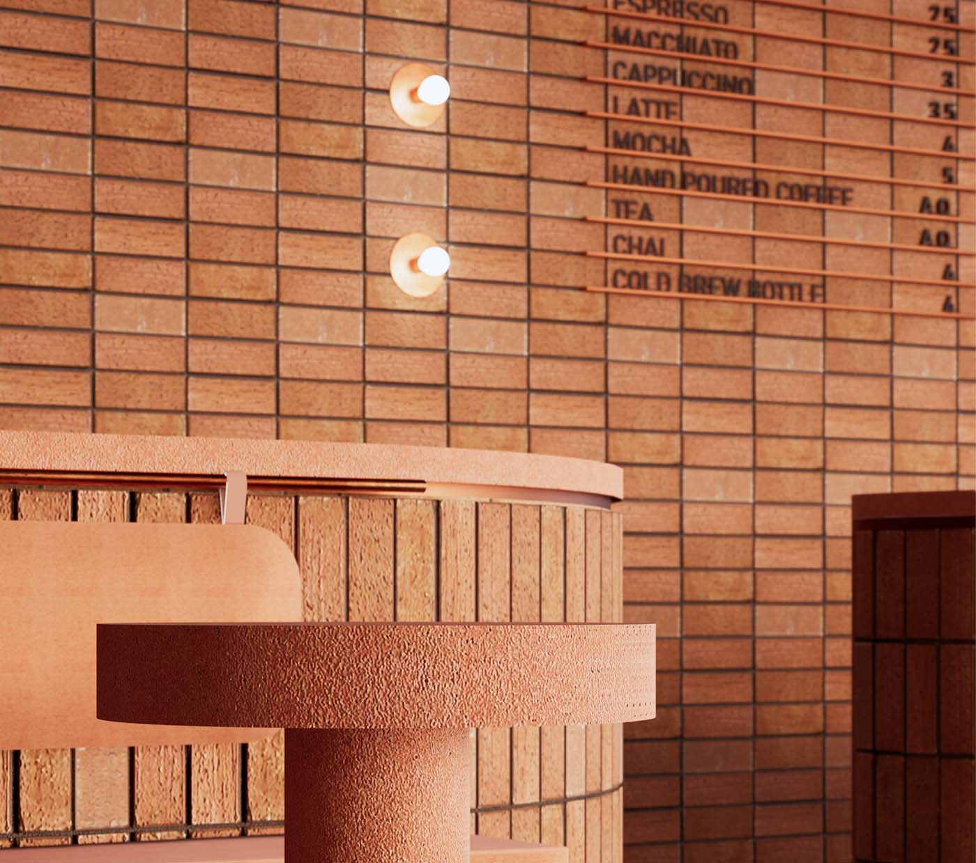 Coffee bar close-up detail using a brick design as an extension of the exterior architecture.