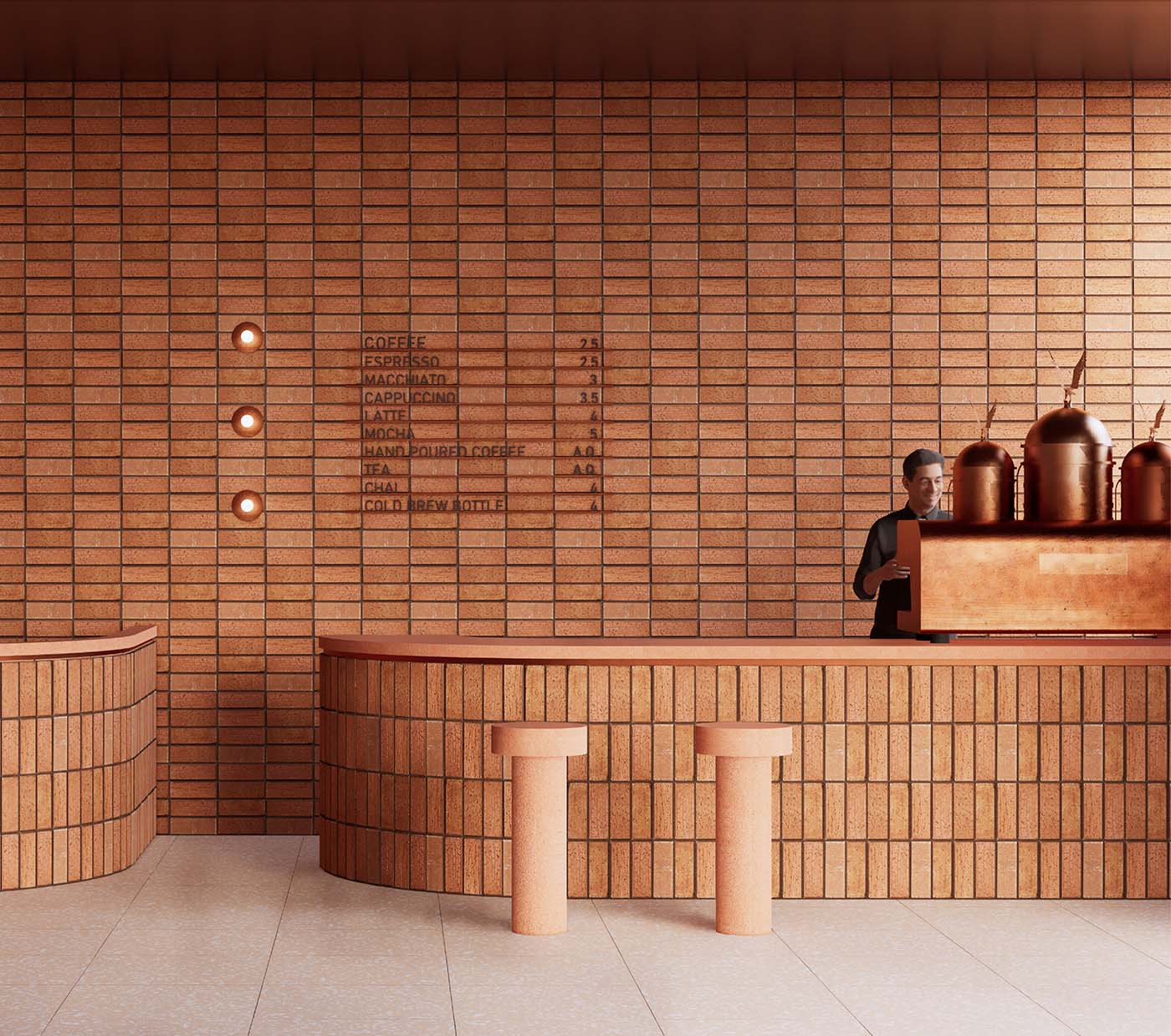 Coffee bar using a brick design as an extension of the exterior architecture.
