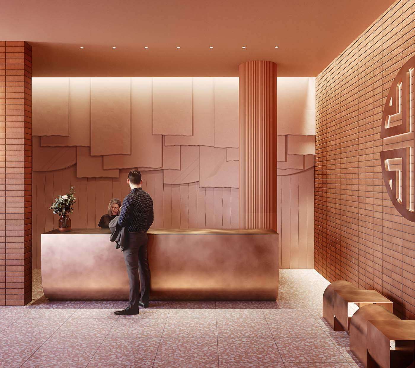 Hotel reception with coral colours showing receptionist and client.