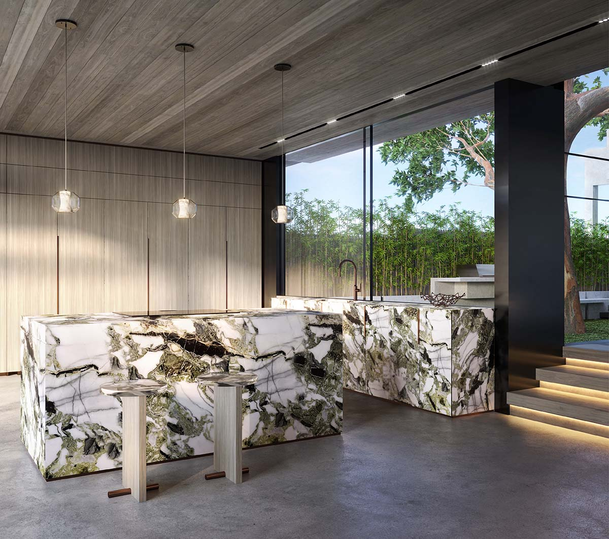Closed kitchen with benchtop made of calacatta jade marble