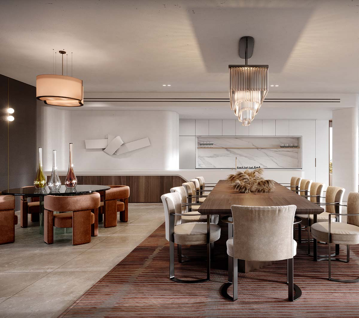 Luxury dining and living area in Rose Bay showing Fendi, Hermes and Mario Bellini architects furniture