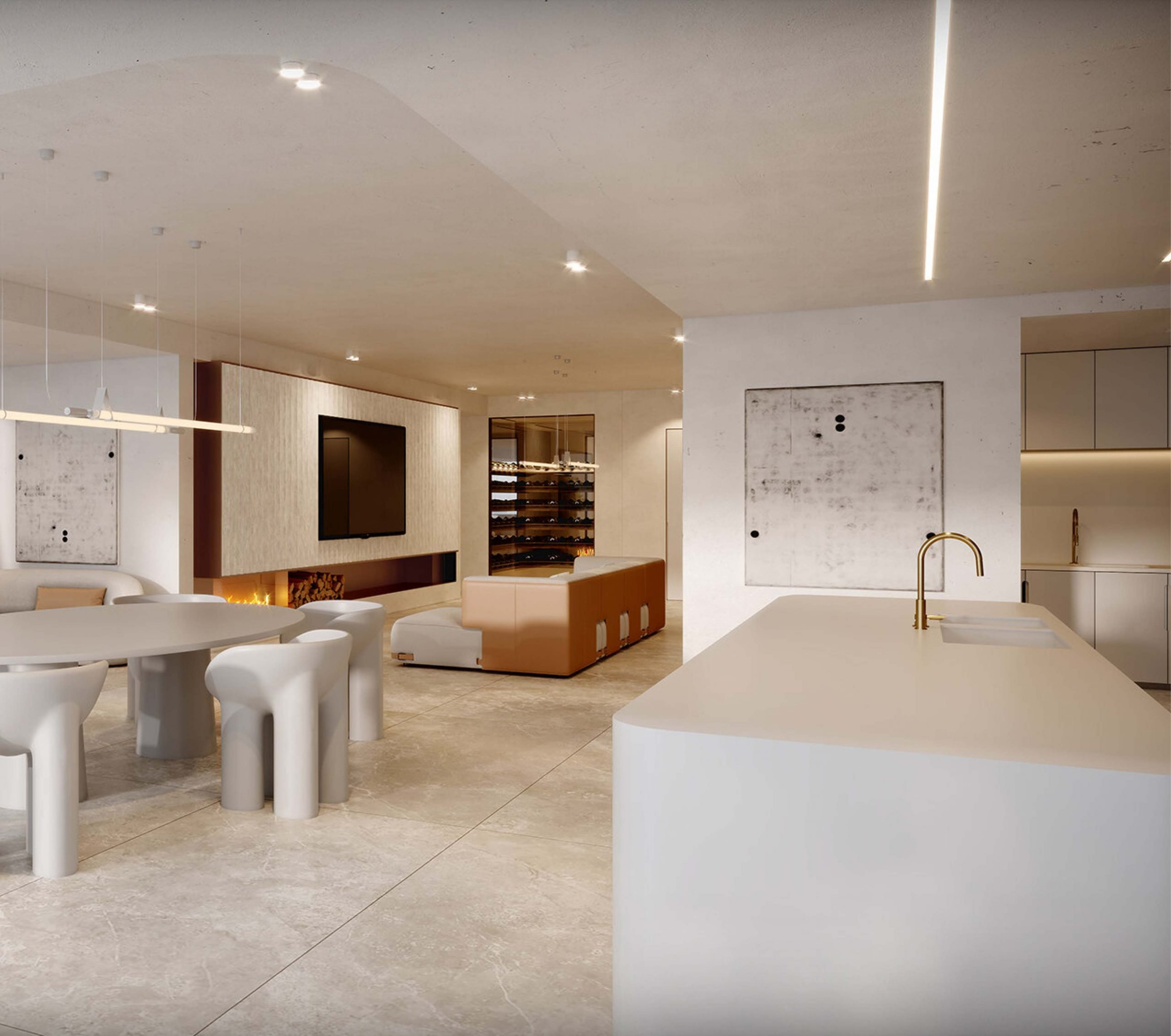 Dining and kitchen area with white benchtop and white interiors in luxury residential in Rose Bay