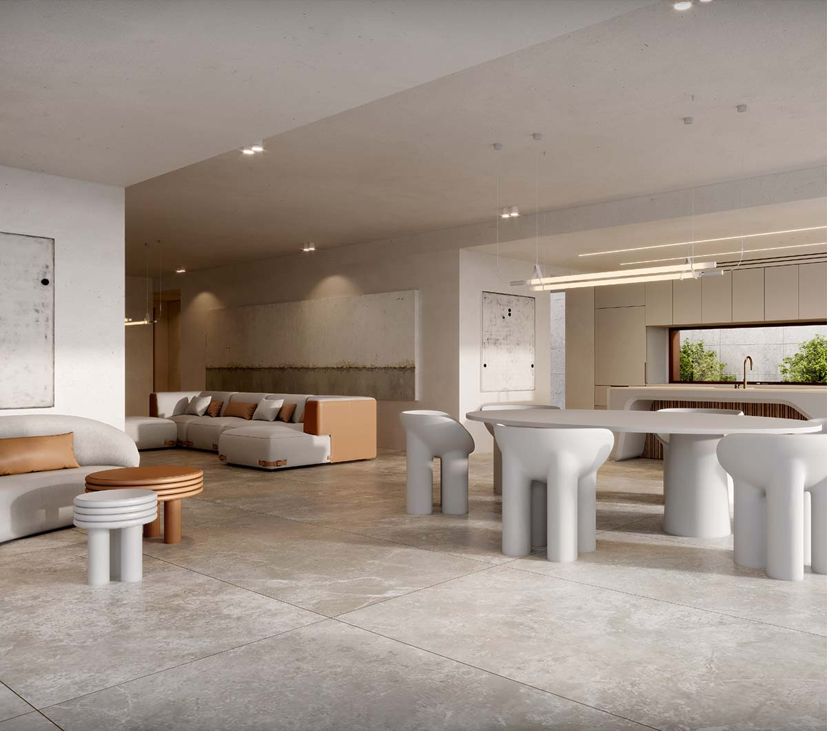 Dining and kitchen area with white table, benchtop and living area