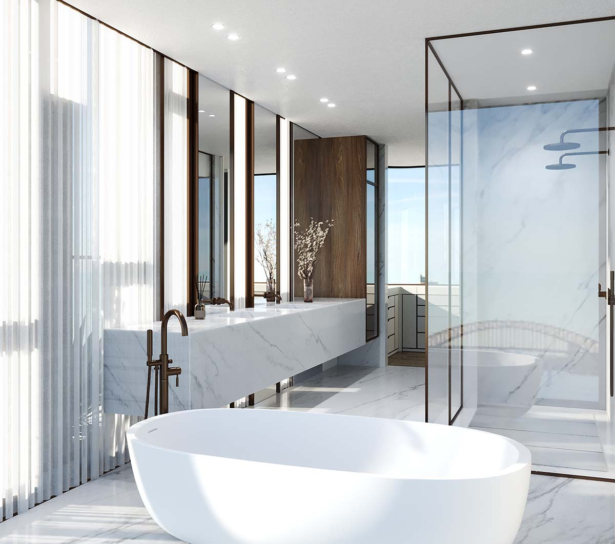 Luxury bathroom interior in Rose Bay with furniture by Salvatori Australia, Boffi and Brodware