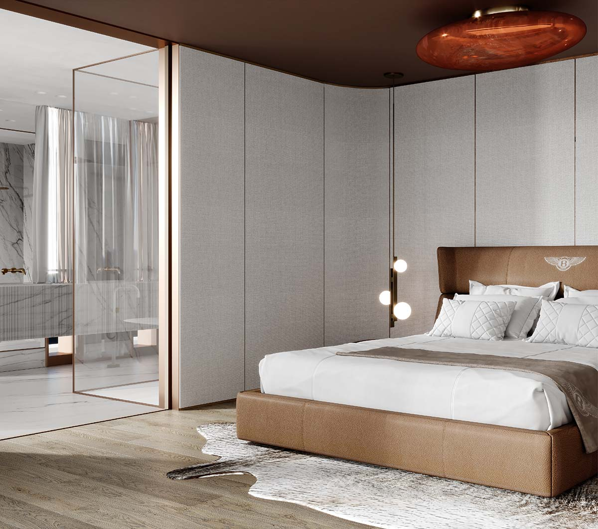 Luxury bedroom with neutral tones wit lights by Fendi and bed by Bentley
