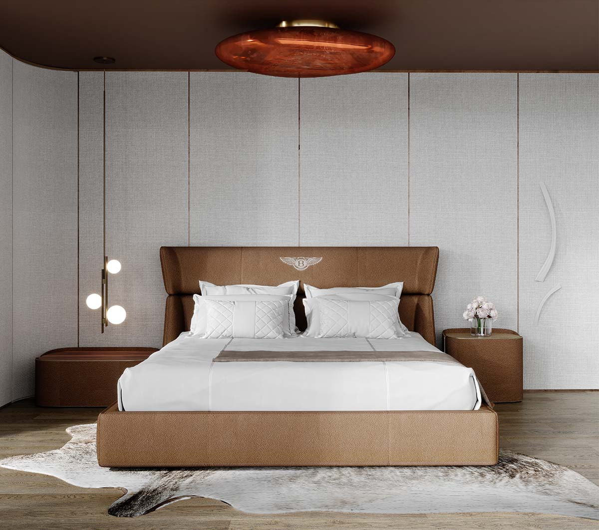 Luxury bedroom with neutral tones wit lights by Fendi and bed by Bentley with frontal view
