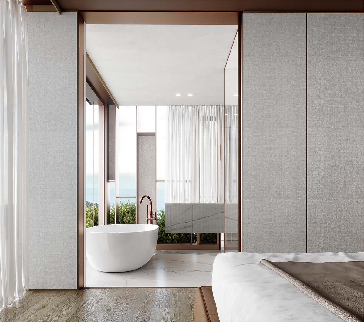 Bedroom with ensuite bathroom showing bathtub and view