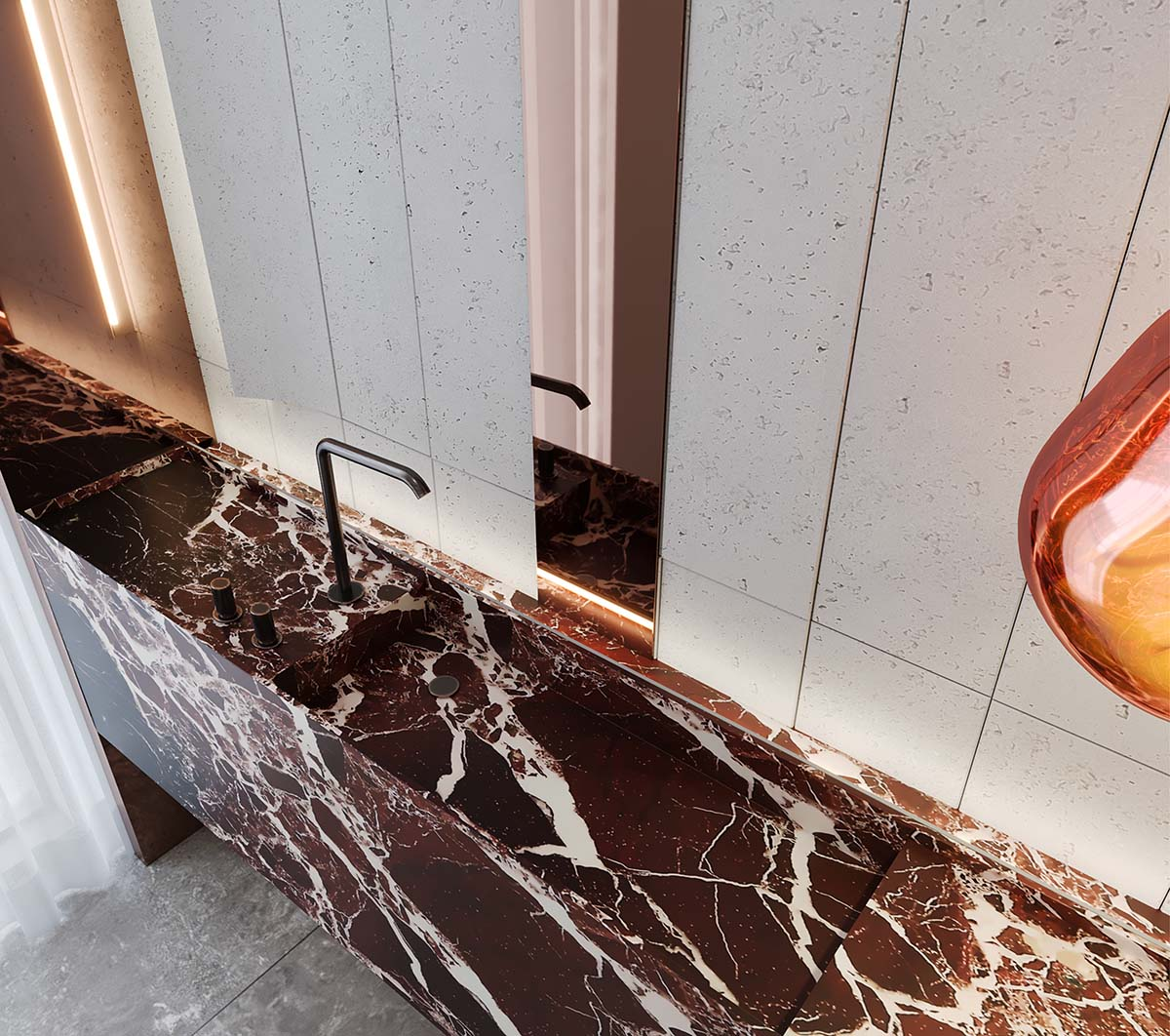 Bathroom close-up with sink of private residential in Rose Bay
