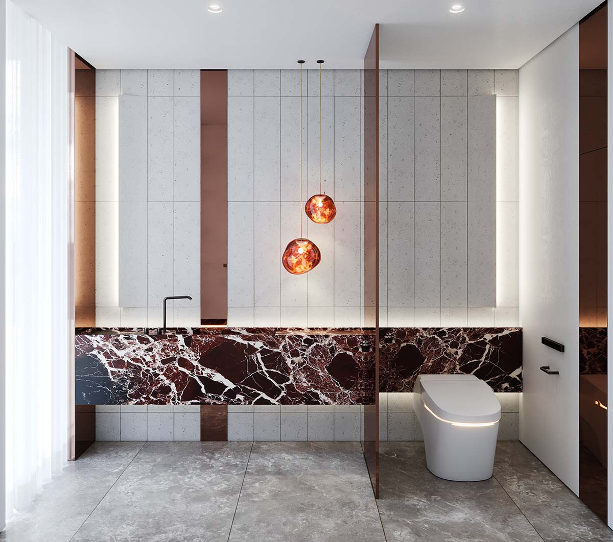 Bathroom of luxury private residential in Rose Bay using Stone Rosso marble hone and melt pendant lights by Tom Dixon Studio