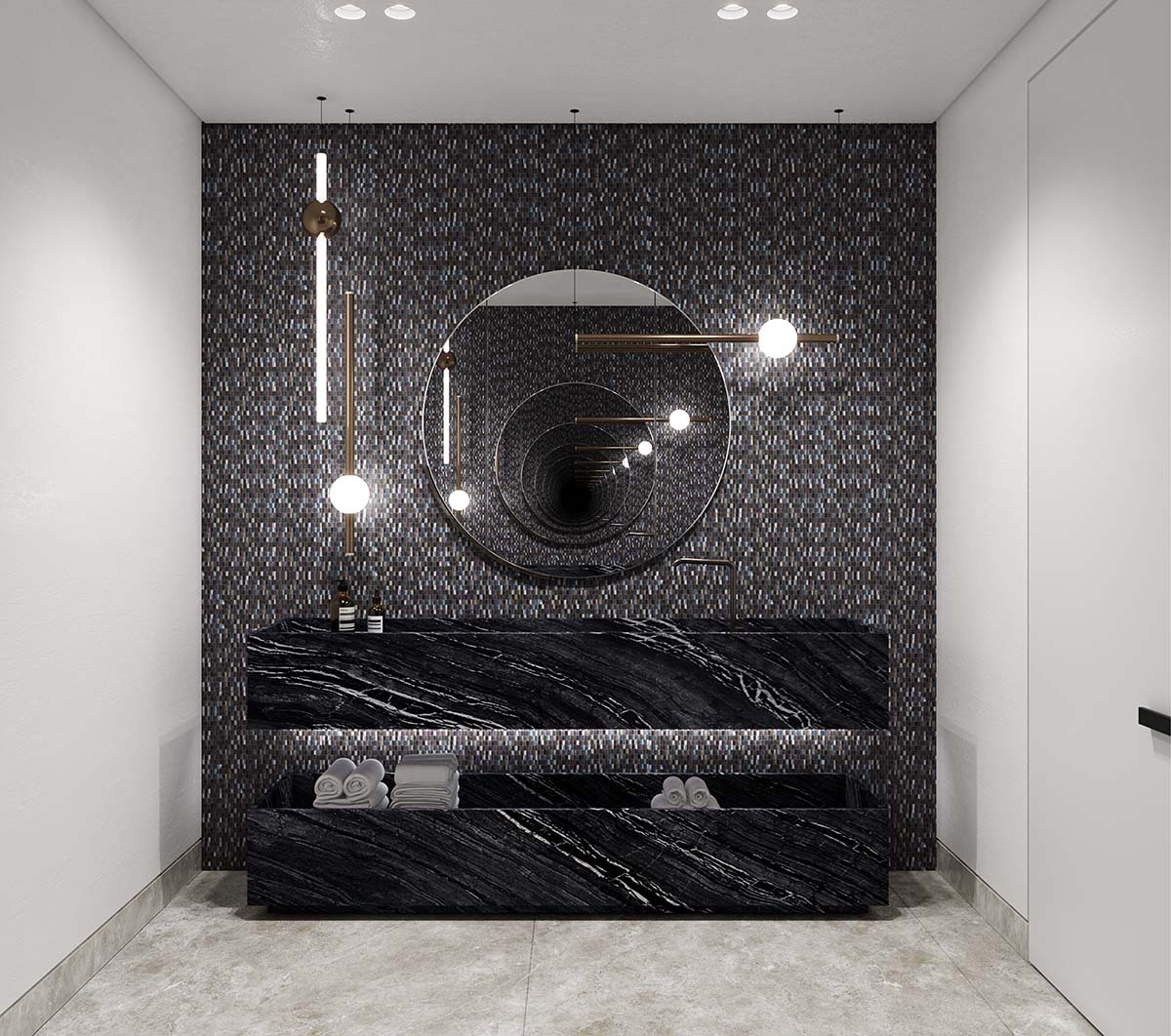 Bathroom of luxury private residential in Rose Bay using Dark marb;e and stone