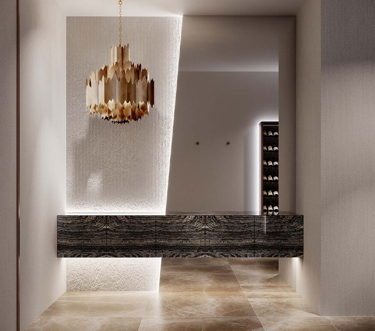 bespoke entrance of a residential apartment with a sculptural chandelier