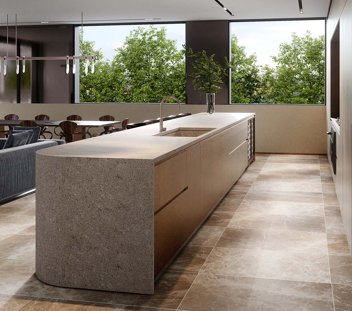 kitchen and bench top made of Caesarstone