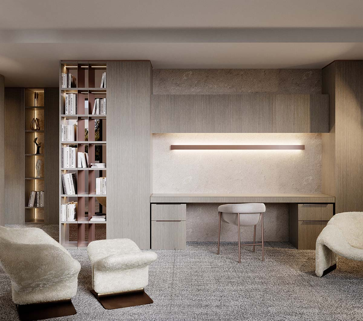 Studio room with neutral colours using timber finishes and chairs from 1stdbis