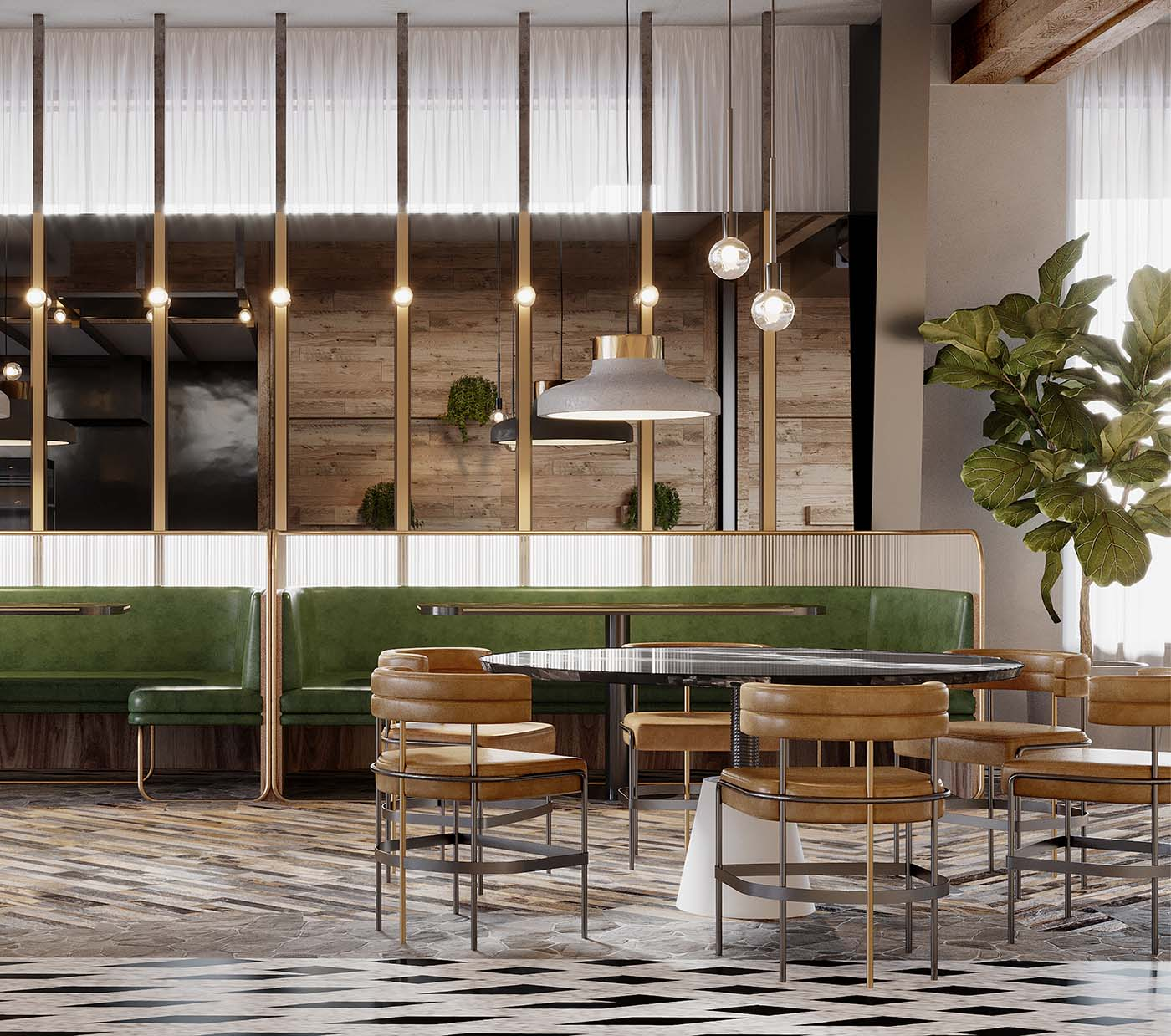 Biophilic cafe design in Sydney showing a close up of the dining area with plants and tables.