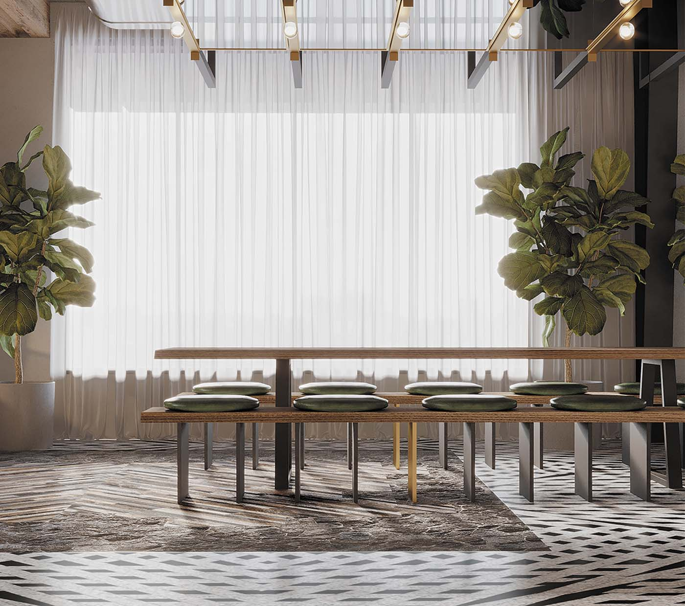 Biophilic cafe design in Sydney showing a close up of a table with plants.