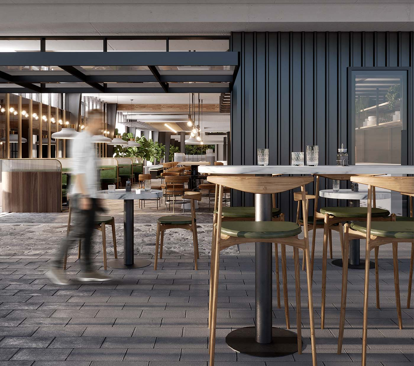 Biophilic cafe design in Sydney showing tables with chairs and a man walking.