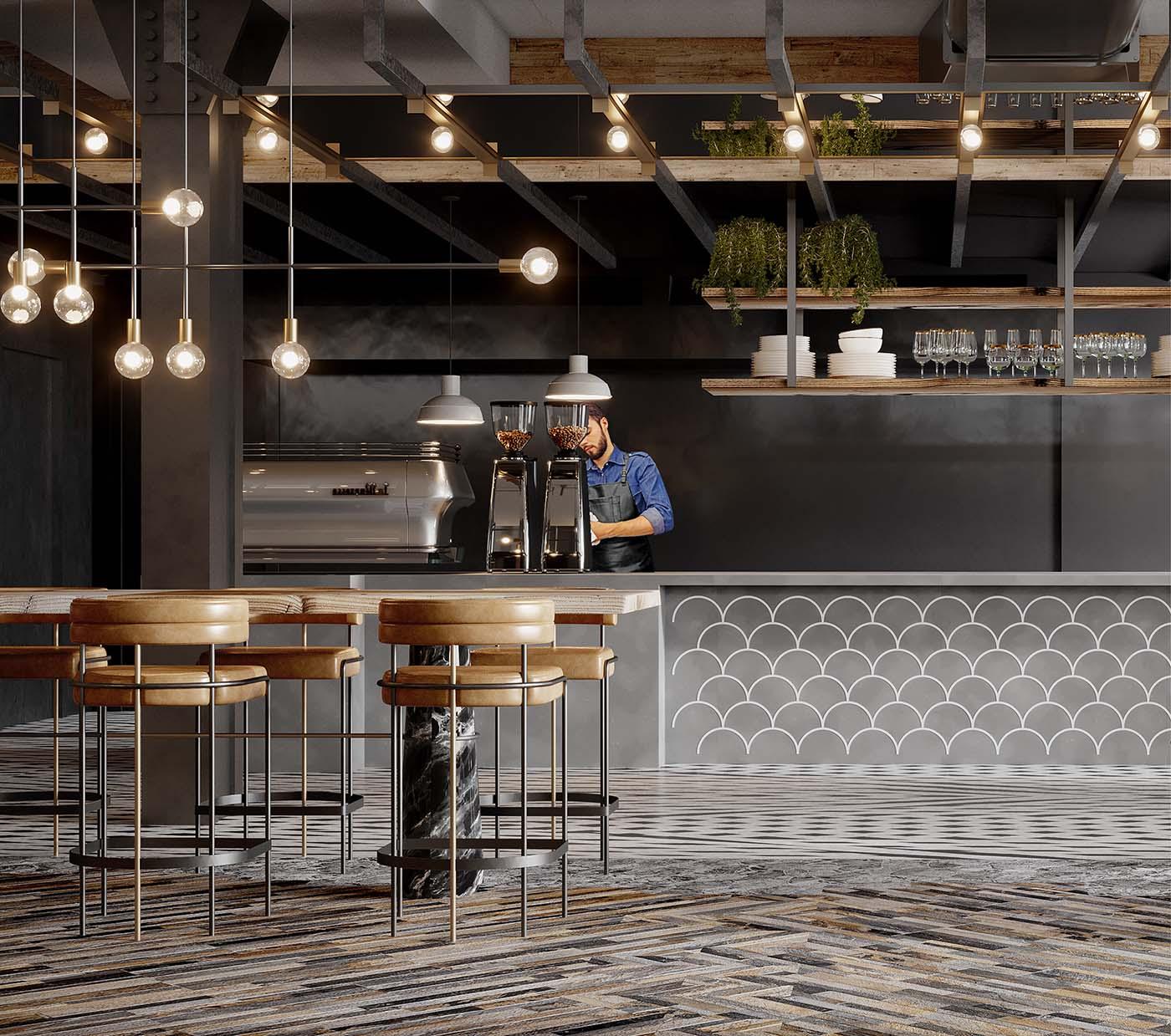 Biophilic cafe design in Sydney man preparing coffee.