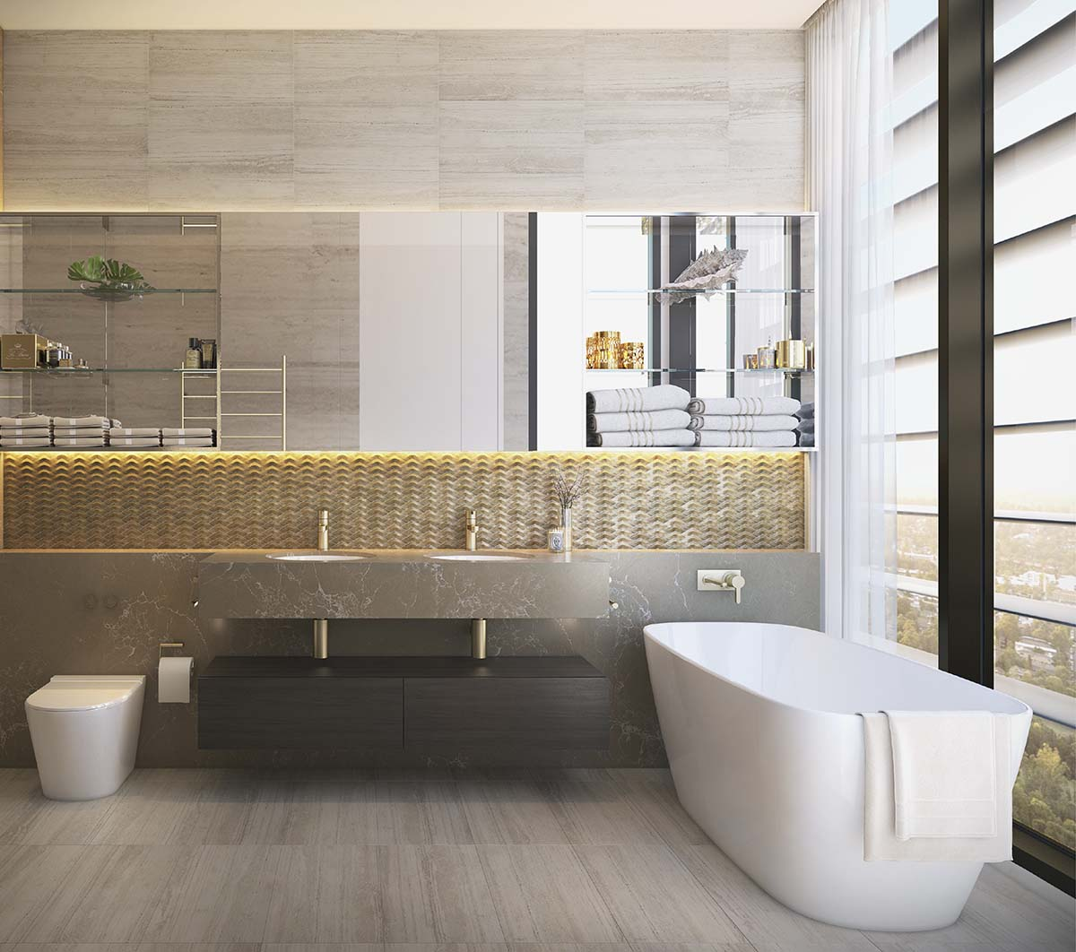 Bathroom with a city view, double sink and bathtub