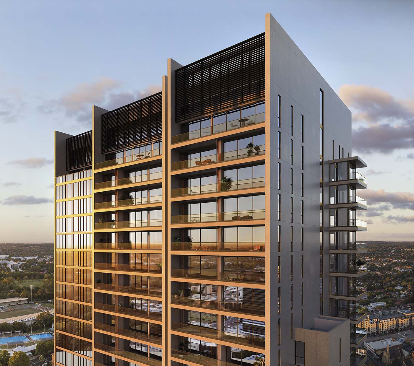 Upper part of The Lennox in Parramatta, Sydney showing the view and penthouses.