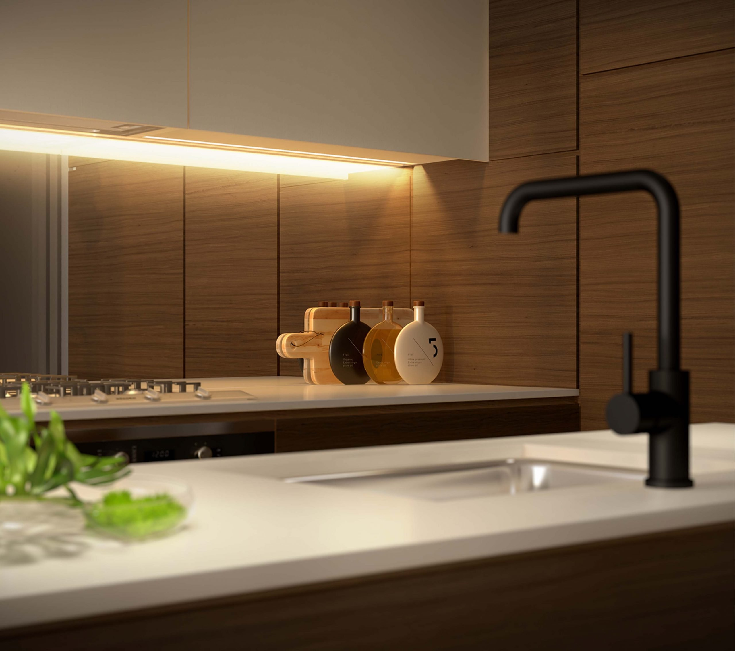 kitchen with timber interiors and sink