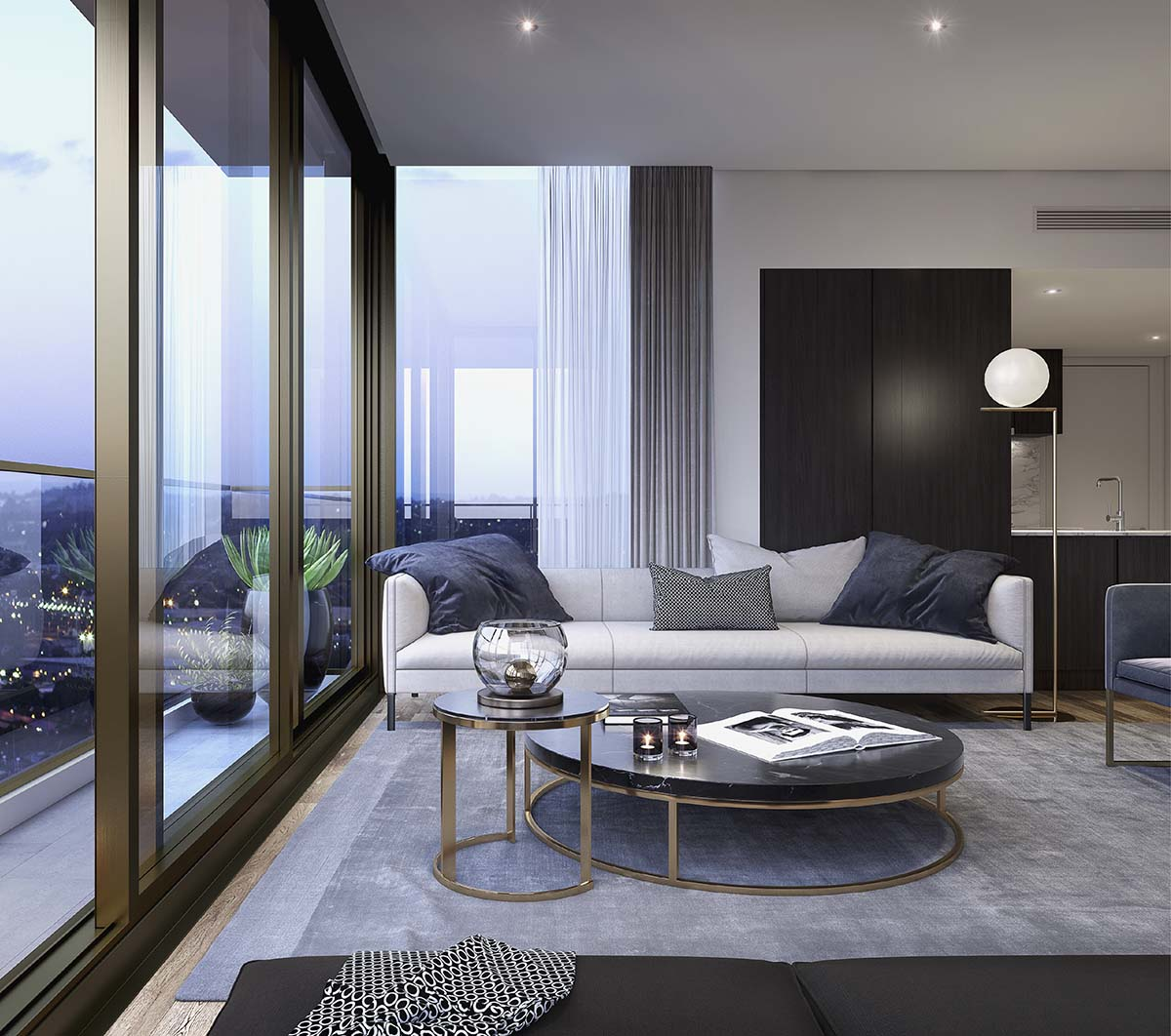 living room with sofa, coffee table and glass wall showing the city view