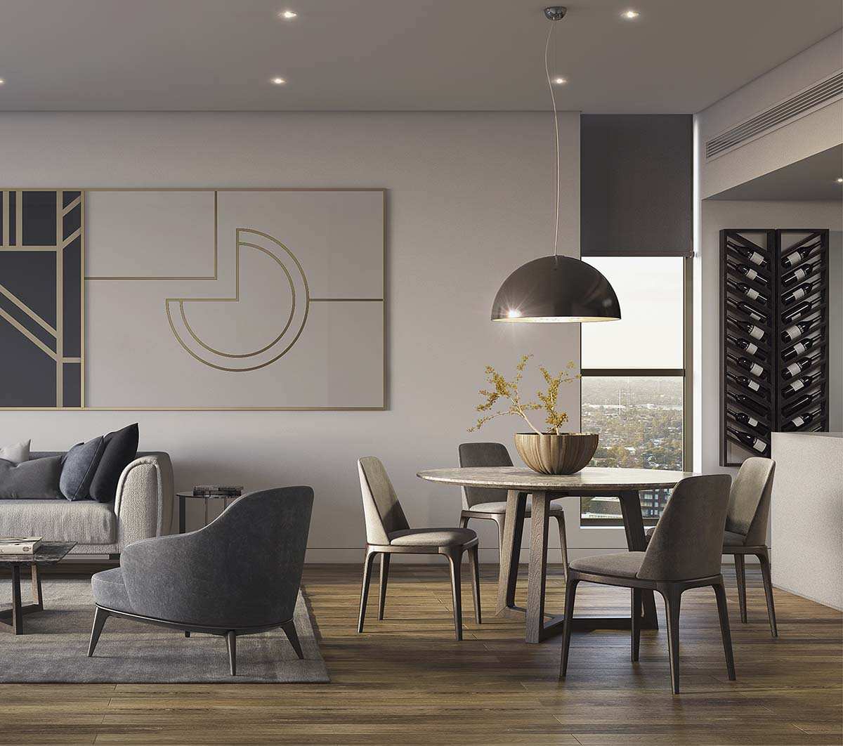 kitchen and living area in city apartment