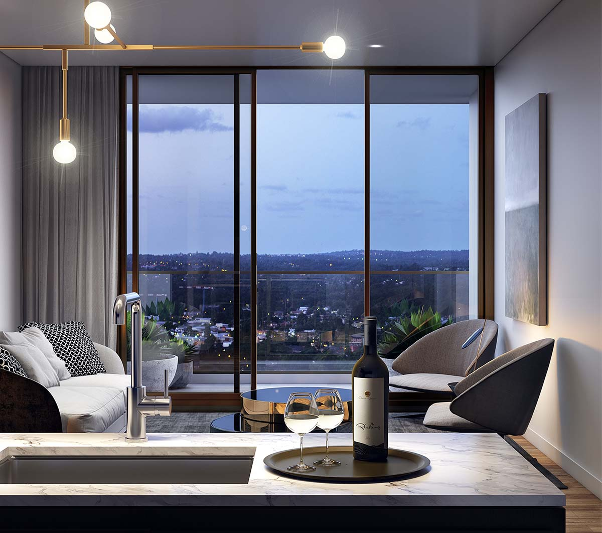 kitchen and living area with city view from balcony