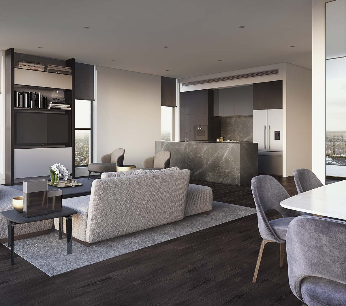 living room and kitchen area in a city apartment