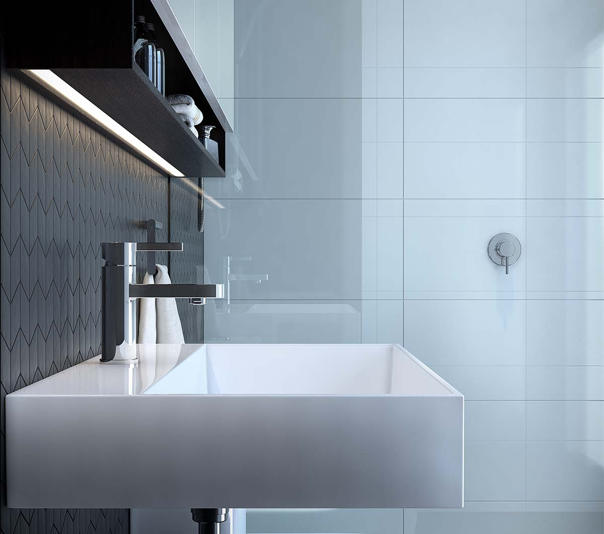 bathroom detail with sink and shower