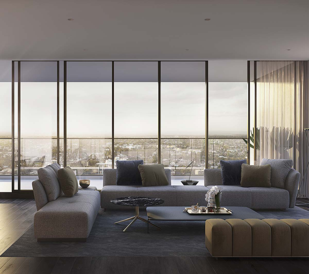 living room with couches and balcony with wall glasses