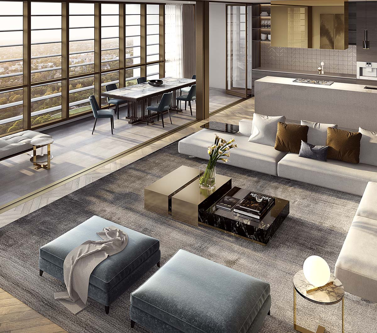 Living room with aerial view showing couches, coffee tables, dining area and city view