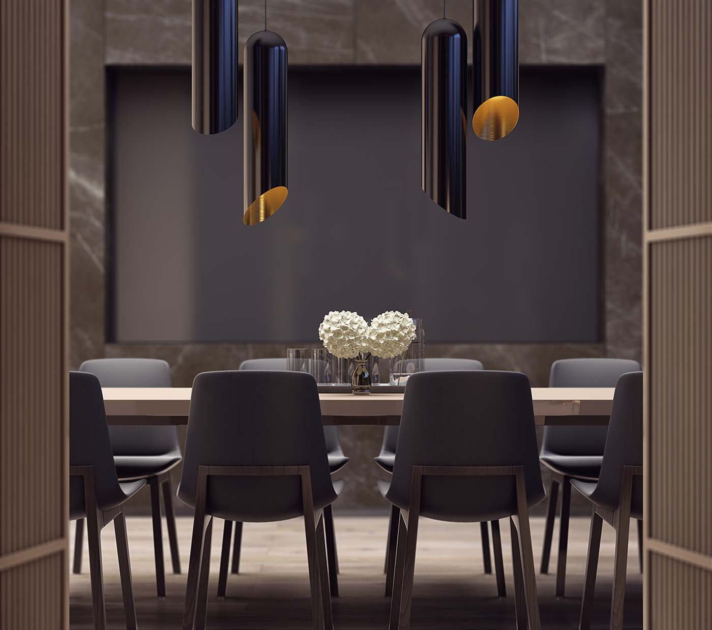 Luxurious meeting room showing a table, chairs and lamps.