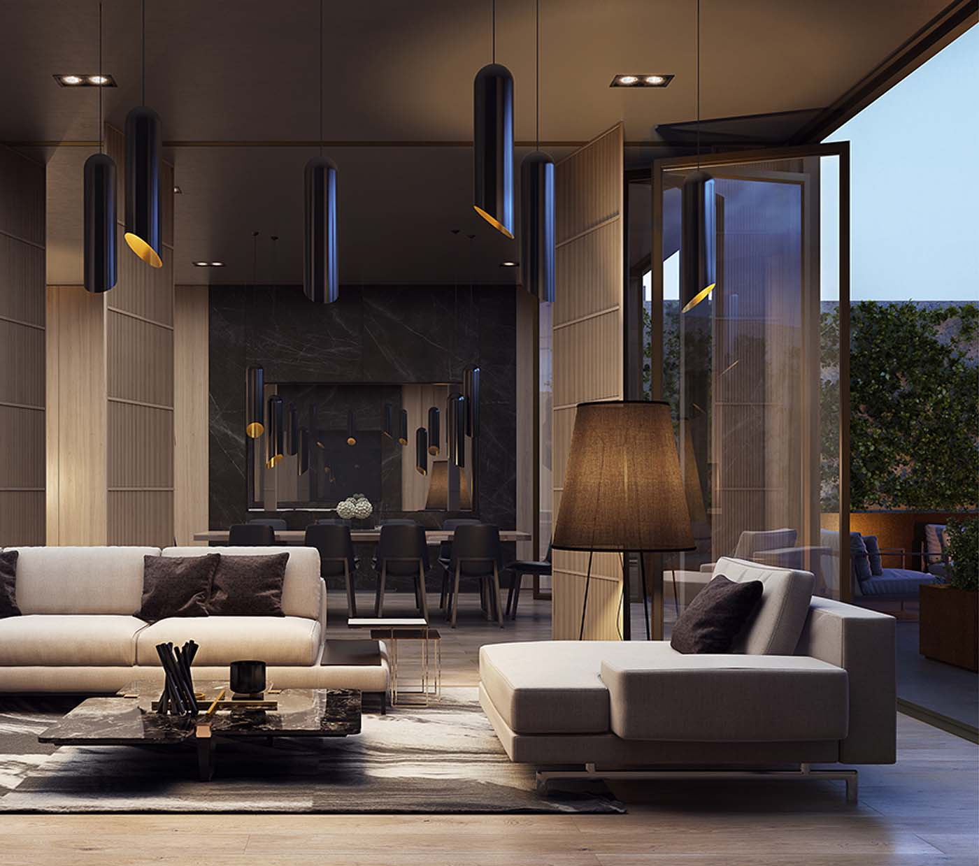 Luxurious waiting area of a skyscraper in Parramatta, Sydney showing sofas, lamps and tables.
