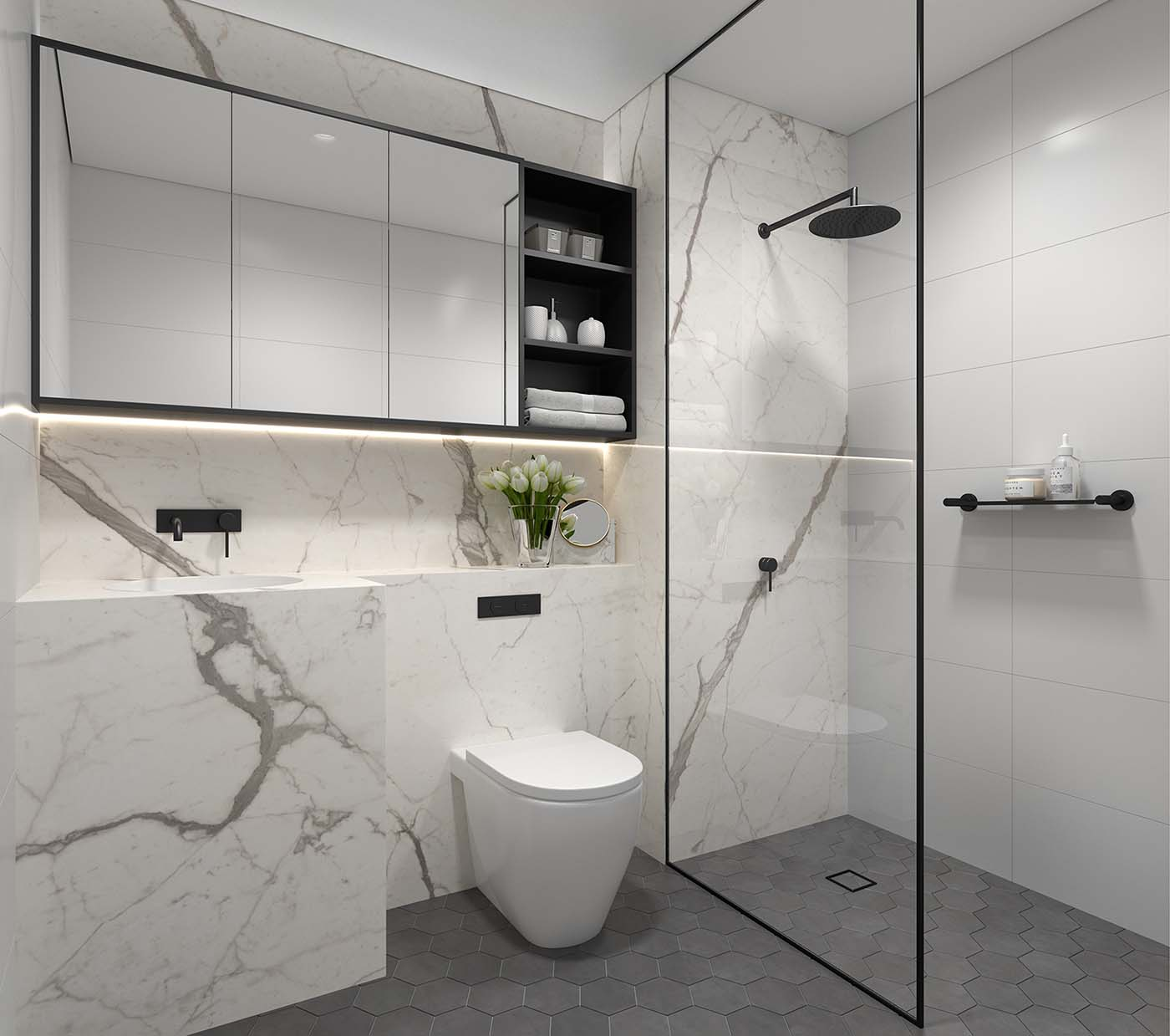 modern bathroom made of marble and stone with toilet and shower